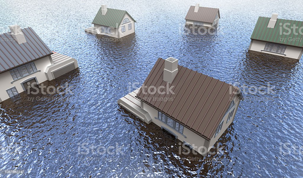 Cartoon of five homes in a flood stock photo