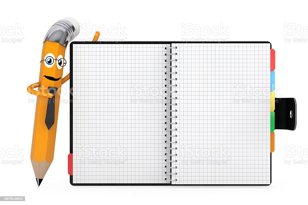 Cartoon Pencil Character near Personal Diary or Organiser Book w stock photo