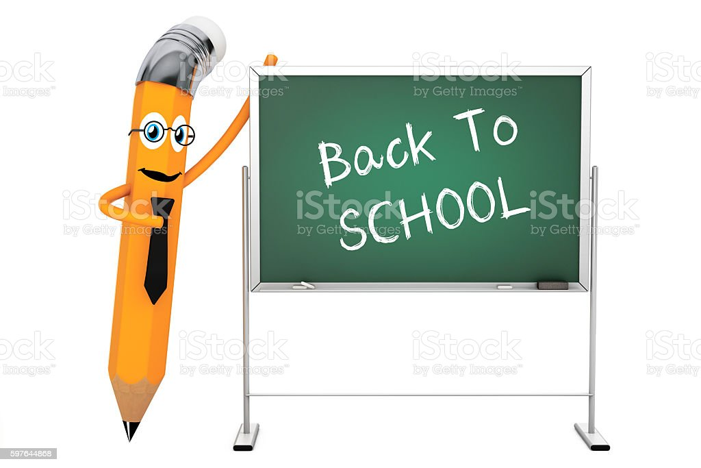 Cartoon Pencil Character with Back To School Blackboard. 3d Rend stock photo