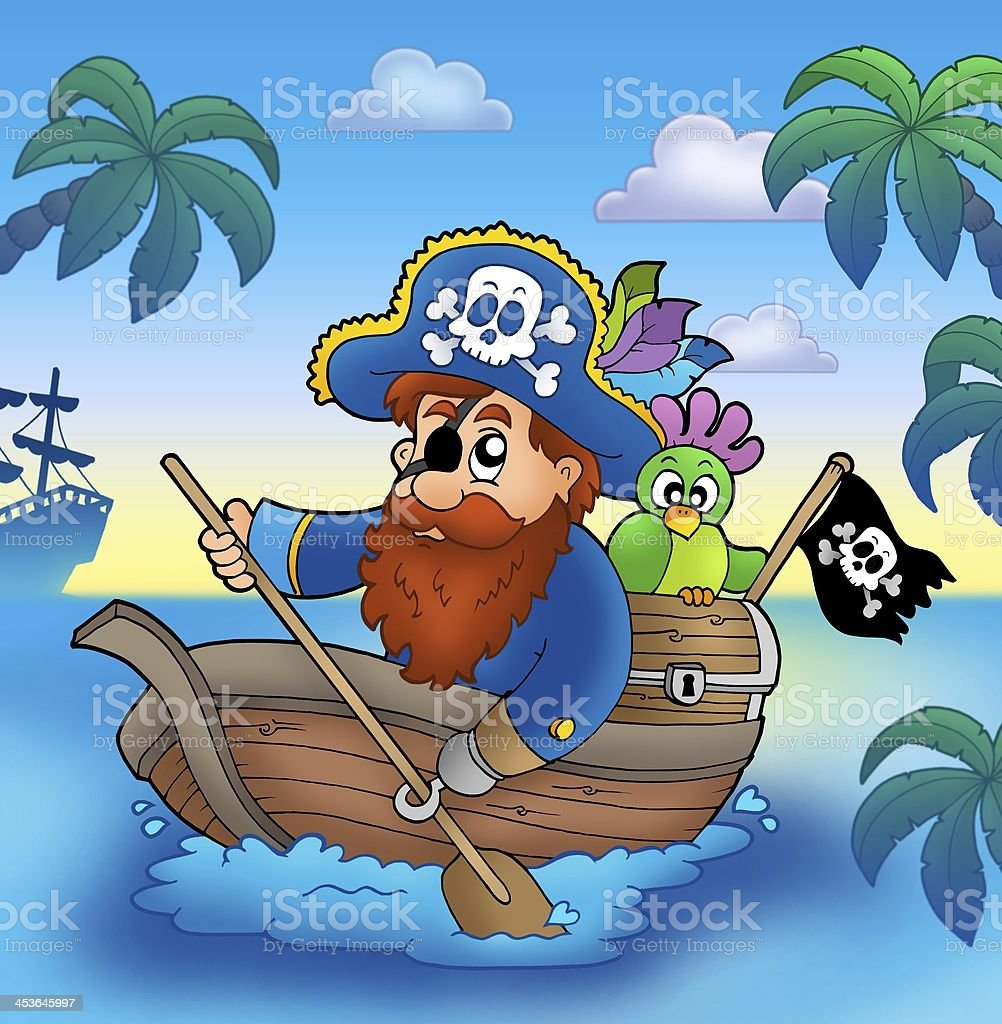 Cartoon pirate paddling in boat royalty-free stock photo
