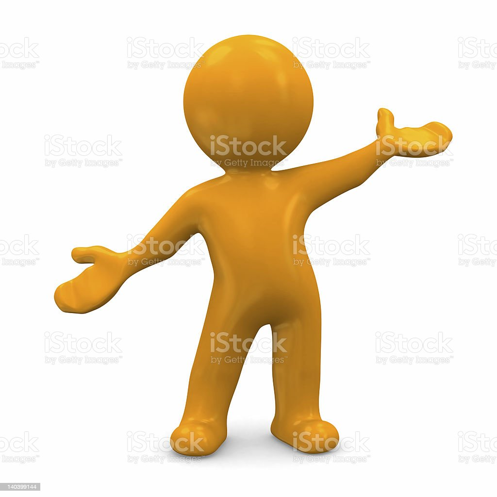 3D cartoon render of orange man in a welcome pose royalty-free stock photo