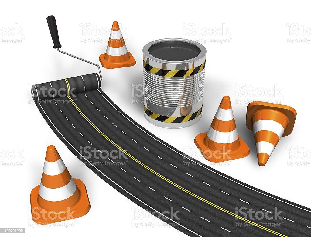 Cartoon road construction concept royalty-free stock photo