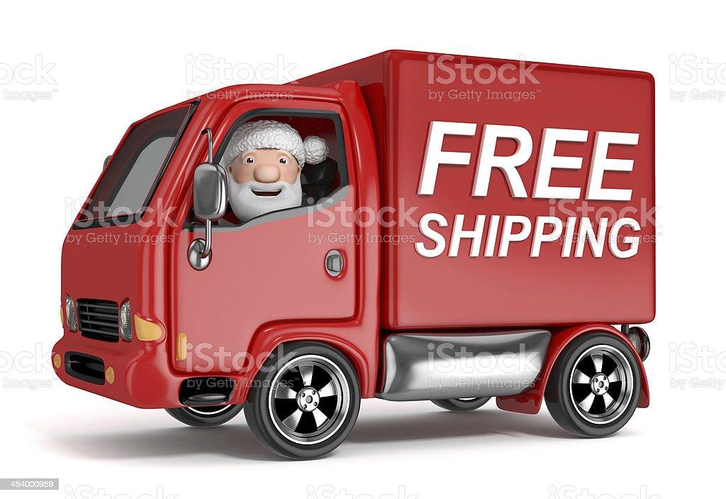 cartoon santa claus in free shipping truck royalty-free stock photo
