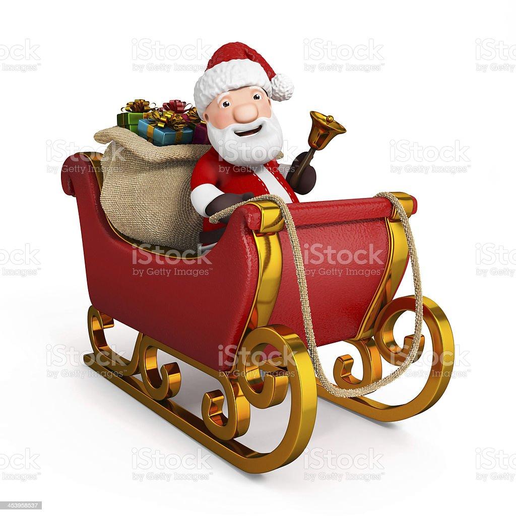 cartoon santa claus in sleigh with sack stock photo