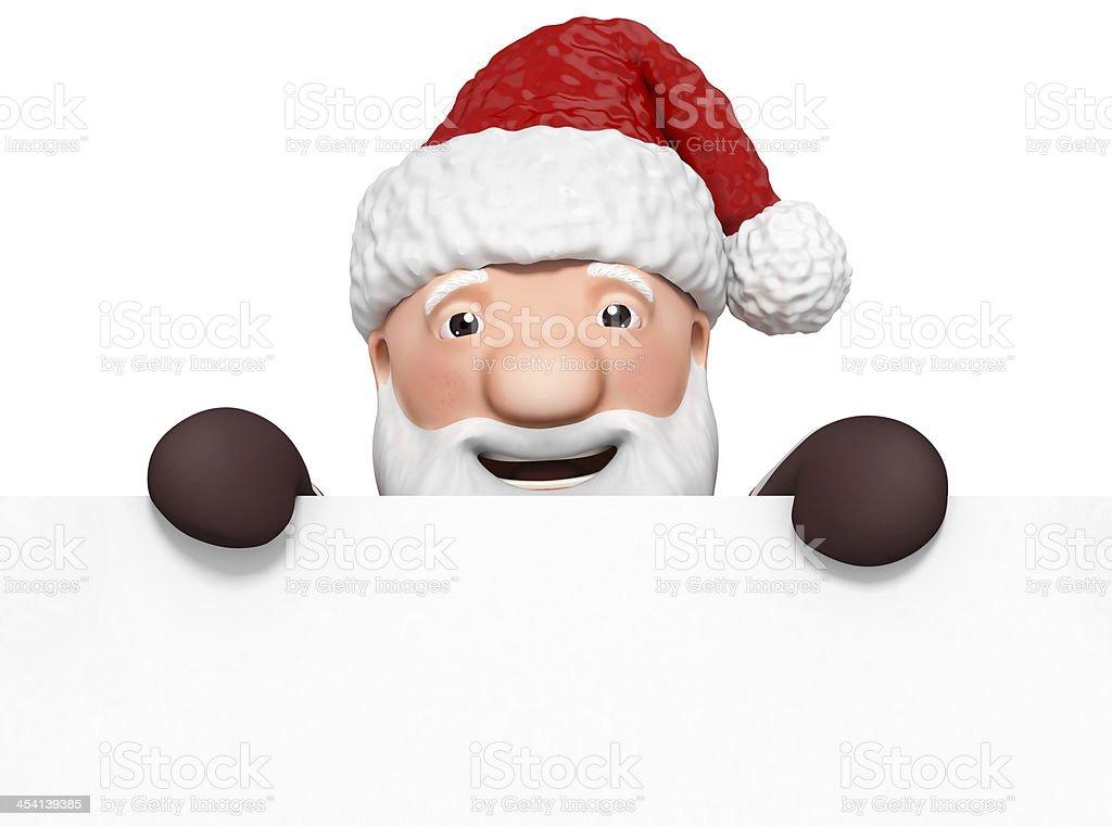 cartoon santa claus with blank paper royalty-free stock photo