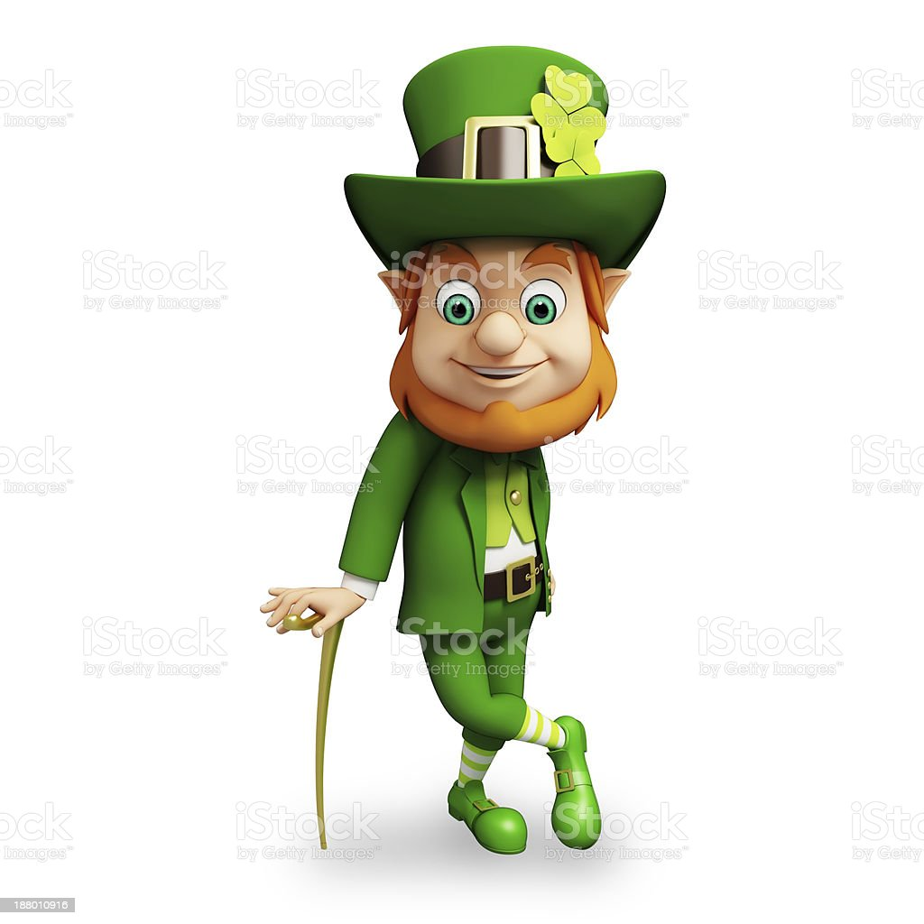 Cartoon St Patrick's day leprechaun on a white background stock photo