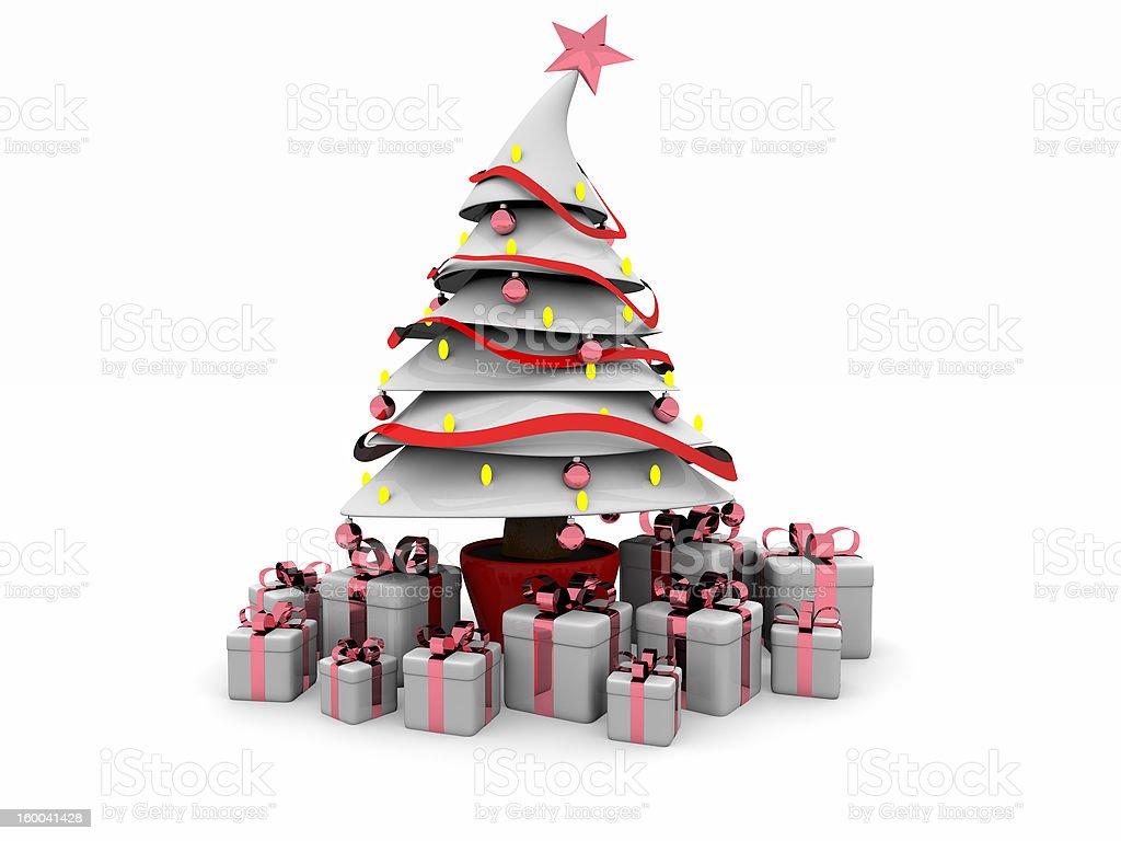 Estilo de dibujos animados 3D: Árbol de navidad-blanco foto de stock libre de derechos