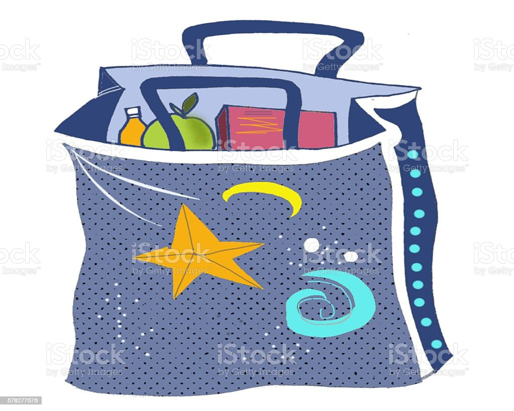 Cartoon style drawing of blue shopping bag with groceries. stock photo
