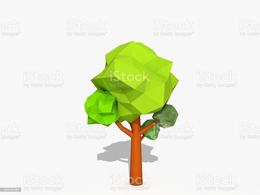 Cartoon tree low poly style stock photo