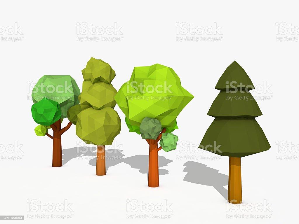 Cartoon trees low poly style stock photo