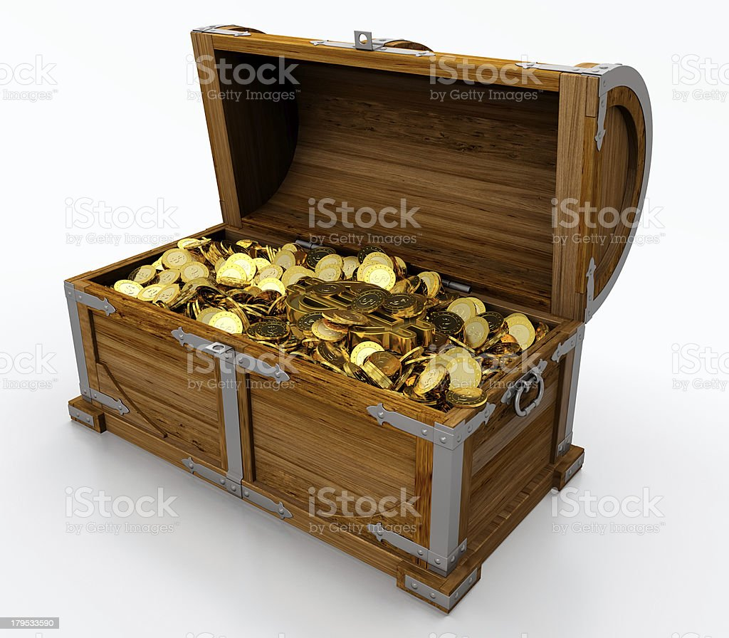 A cartoon wooden treasure chest filled with gold coins stock photo