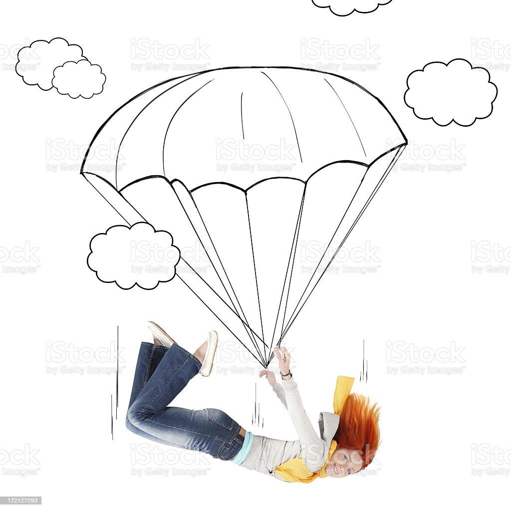 Cartoon_Parachutist royalty-free stock photo