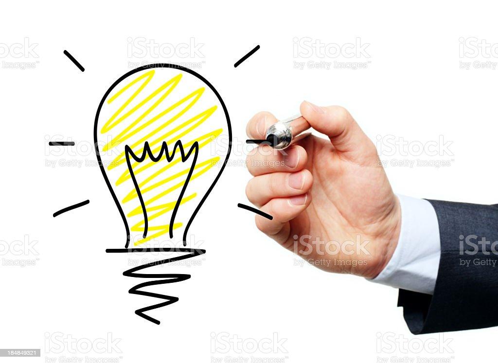 Cartoonist doodle of businessman having an idea royalty-free stock photo