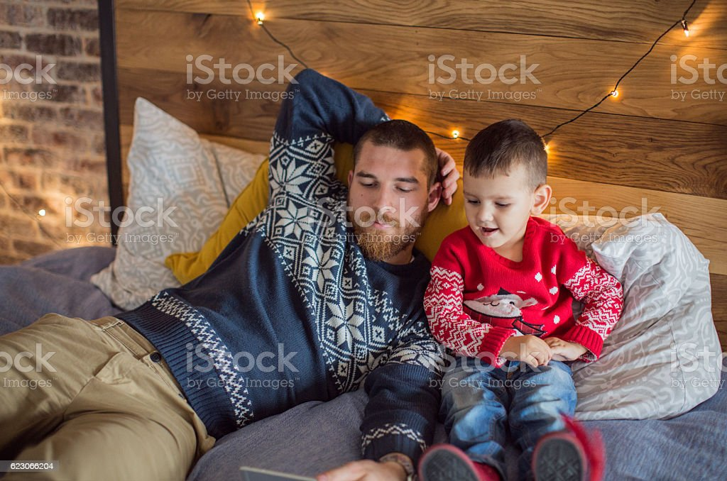 Cartoons day with dad stock photo