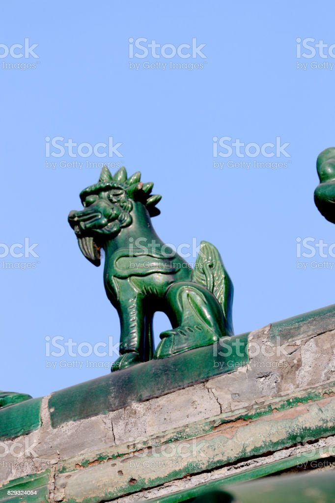Carve on the roof of  Chinese traditional architecture stock photo