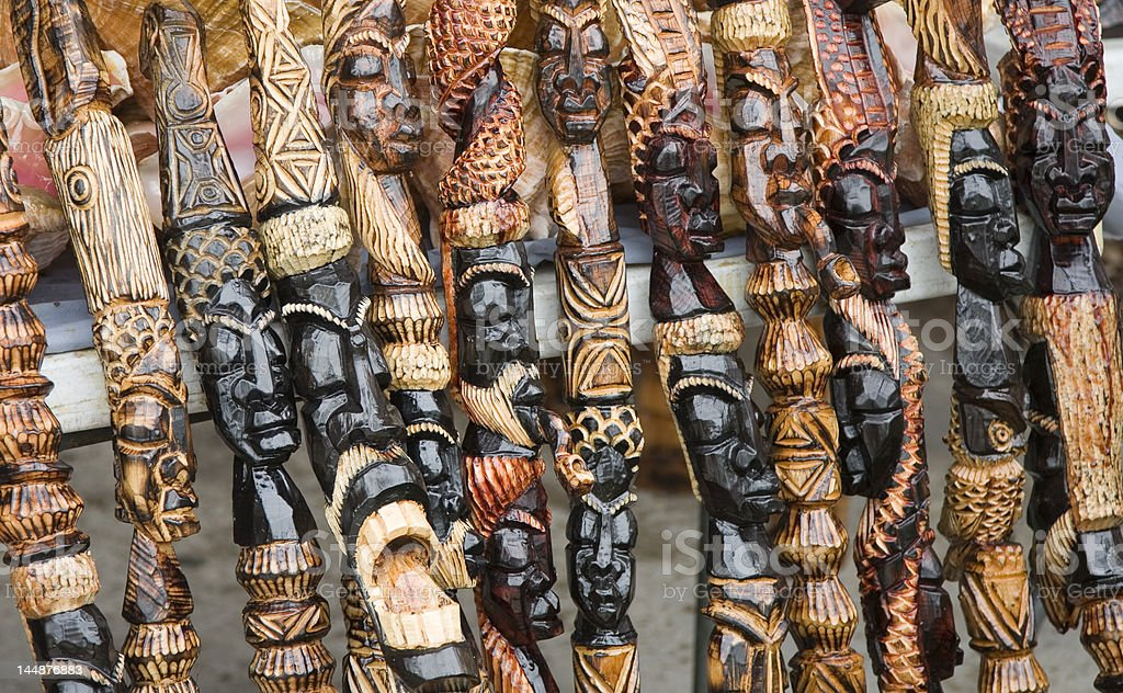 Carved African Walking Sticks royalty-free stock photo