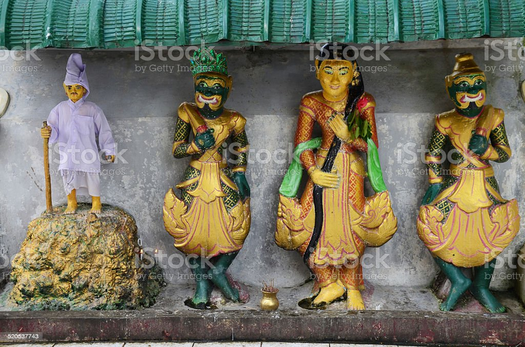 Carved and sculpture statue guardian at Shwedagon Pagoda stock photo