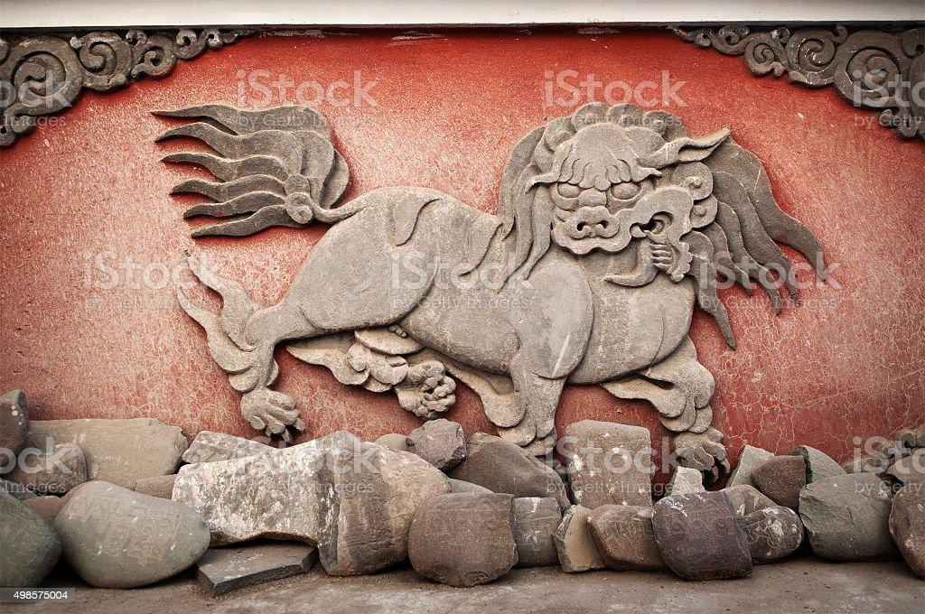 Carved animal at monastery stock photo