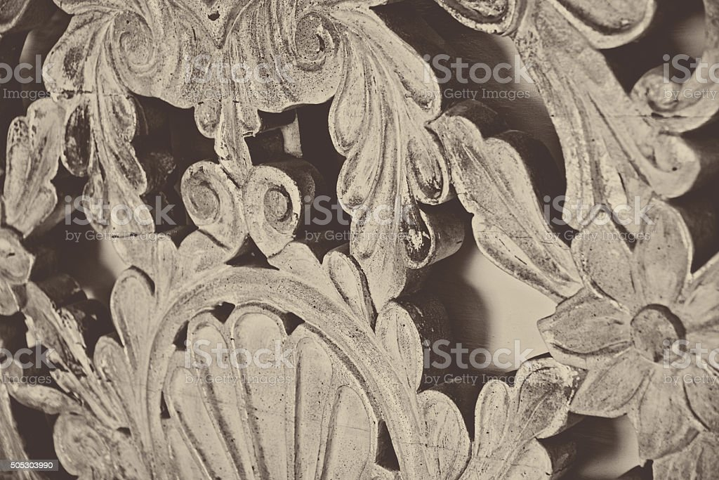 Carved Antique Headboard, Ornate Wood Bed stock photo