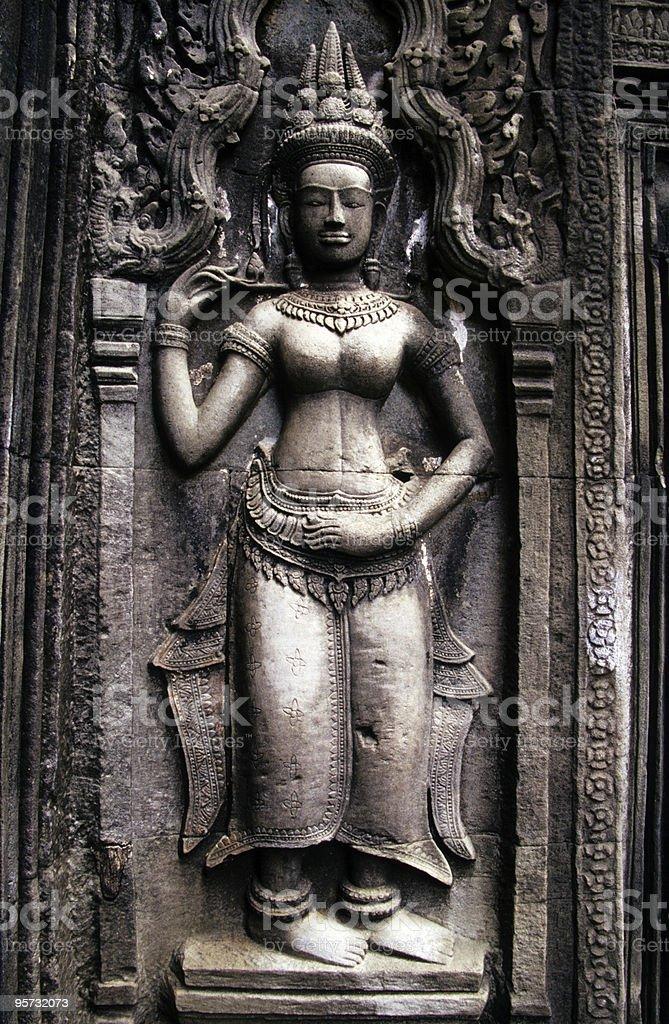 Carved Aspara, Angkor Wat, Cambodia stock photo