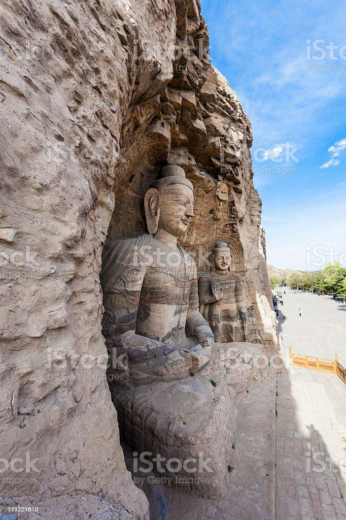 Carved Buddha at Yungang Caves, Datong, China royalty-free stock photo