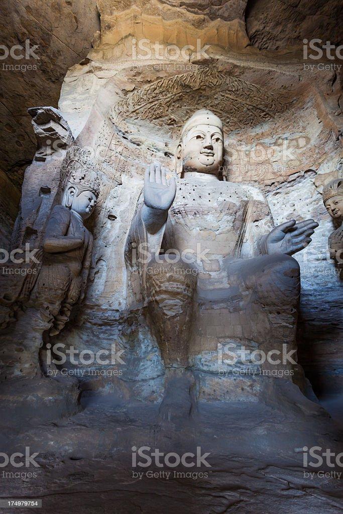 Carved Buddha at Yungang Caves, Datong, China stock photo