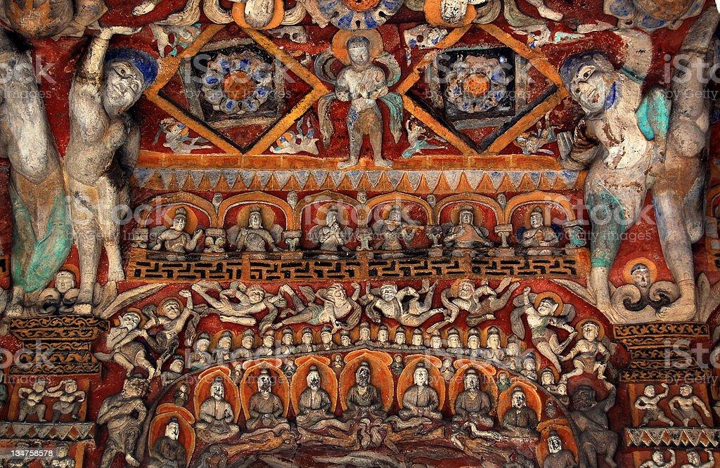Carved Buddha at Yungang Caves stock photo