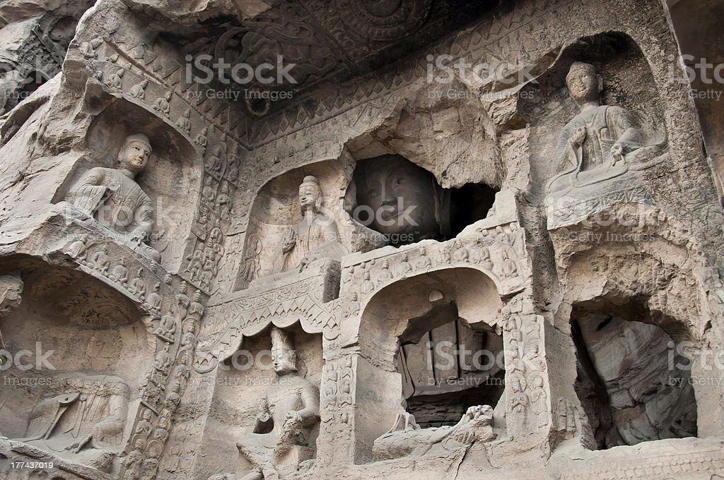 'Carved buddhas at the Yungang Caves, Datong' stock photo