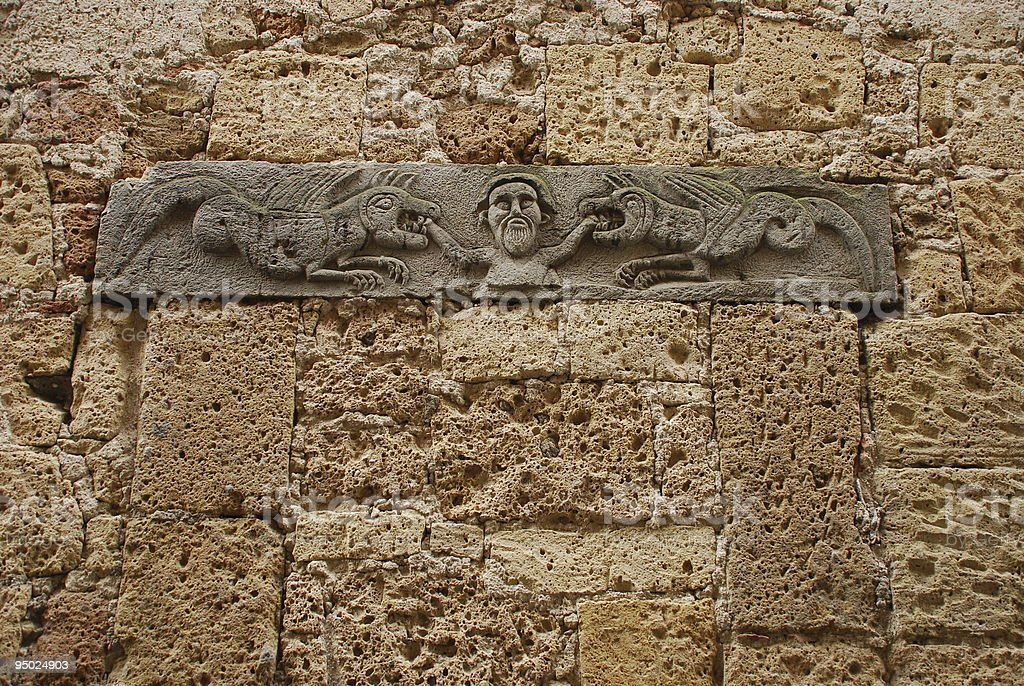 Carved Details on Wall stock photo