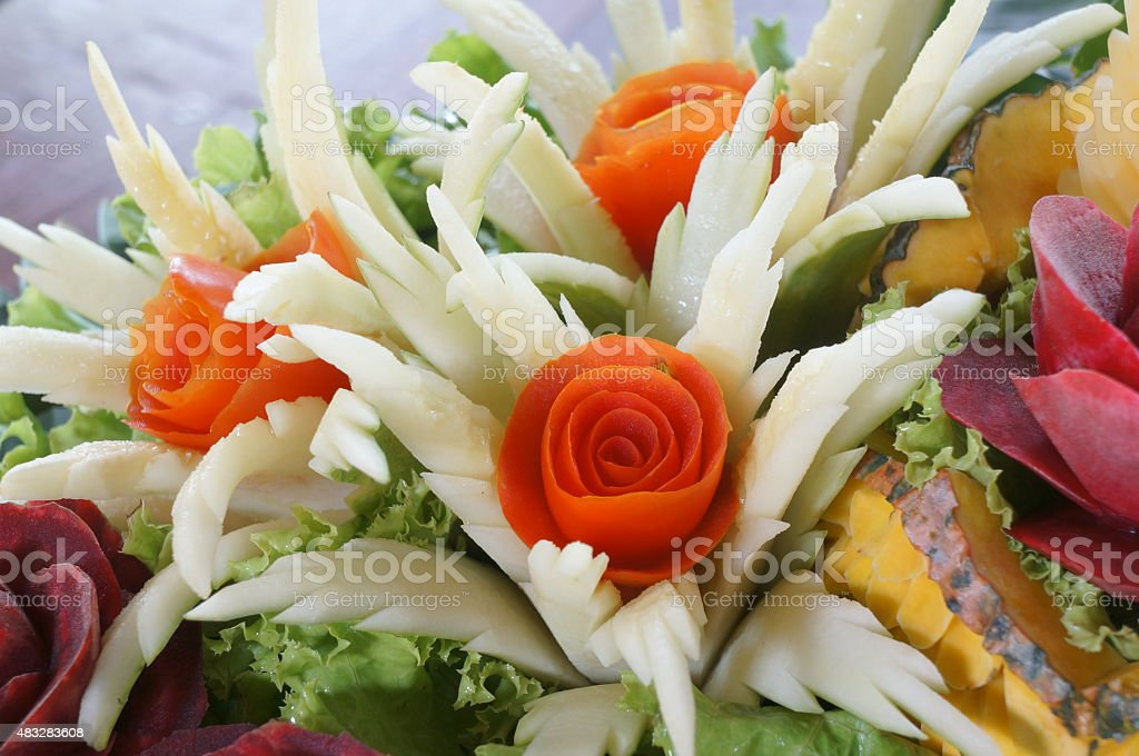 carved fruit vegetable art skill food concept stock photo