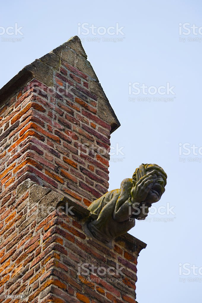 Carved gargoyle, man with a startled face stock photo