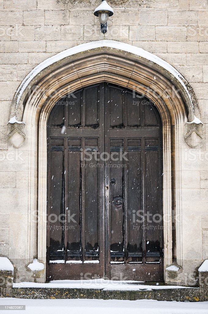 Carved Gothic Arched Church Doorway royalty-free stock photo