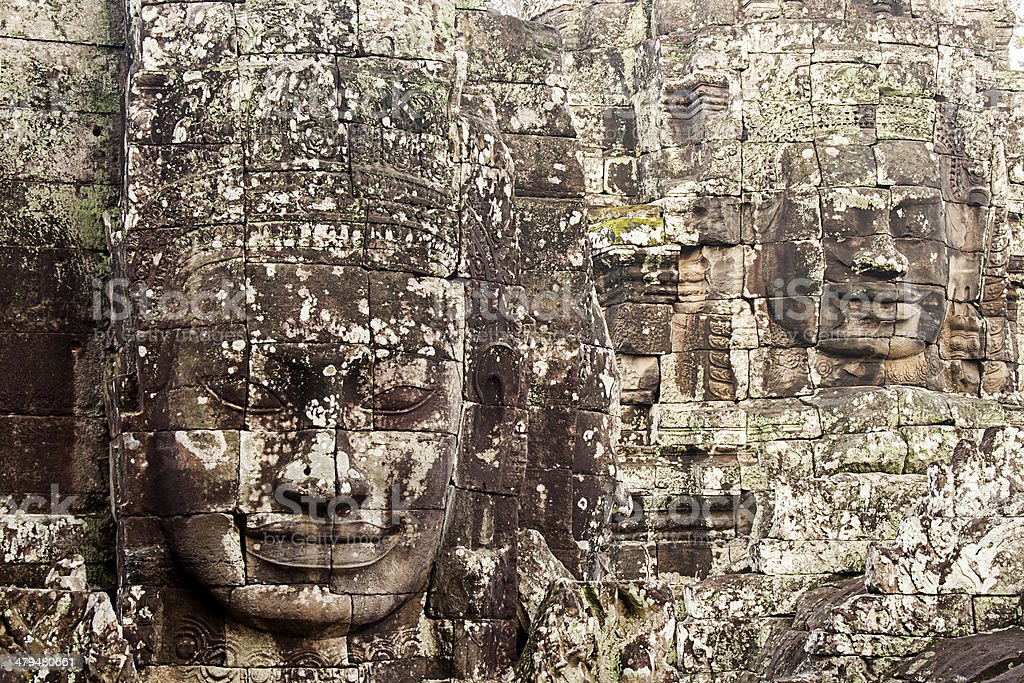 Carved Heads At Bayon Temple, Angkor Thom, Cambodia stock photo