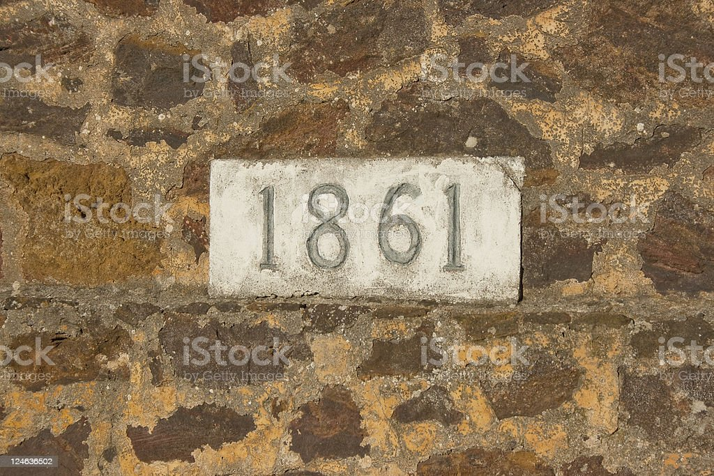 '1861' Carved in Stone stock photo