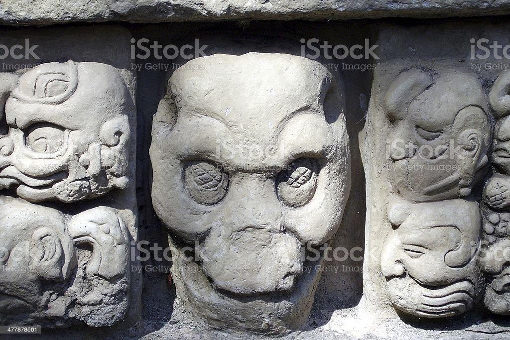 Carved in stone skull, Copan Honduras royalty-free stock photo