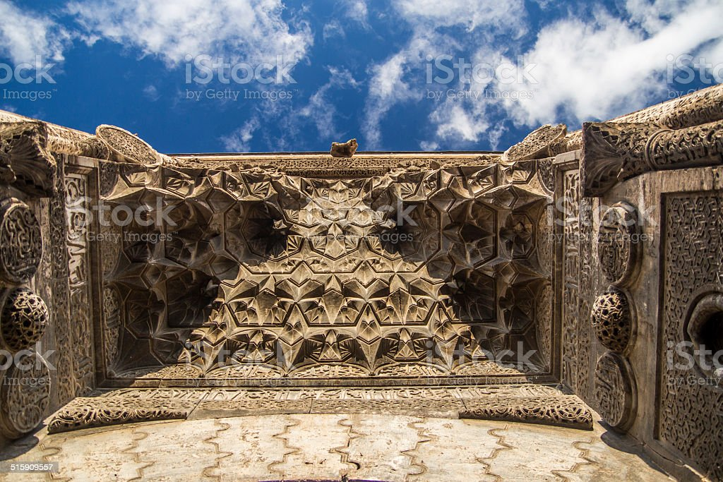 Carved islamic architecture details stock photo