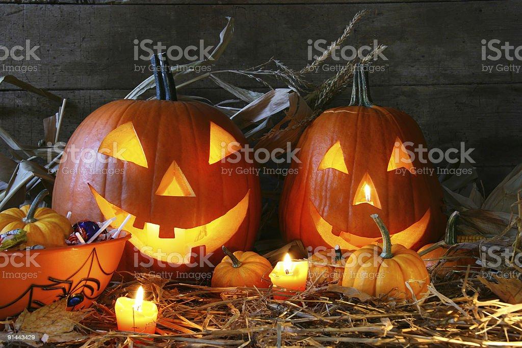 Carved jack-o-lanterns stock photo