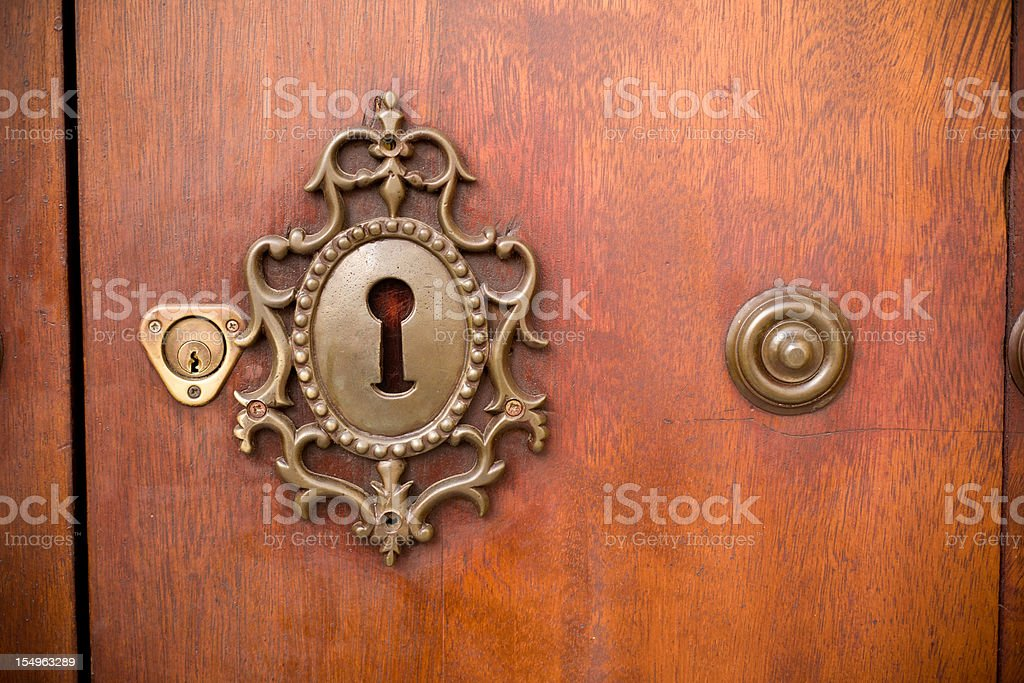 Carved key hole stock photo