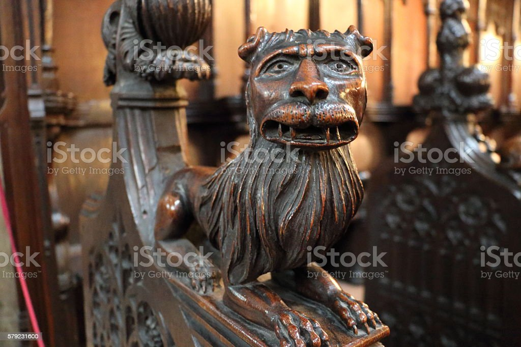 Carved Lion, Beverley Minster, UK stock photo