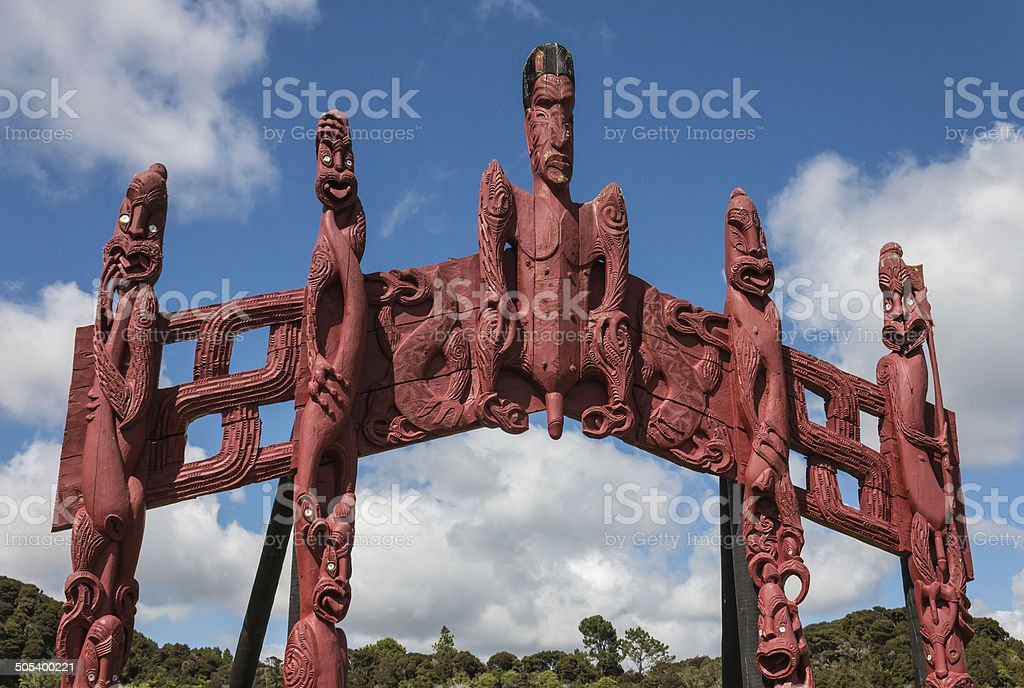 carved Maori totem in Paihia, New Zealand stock photo