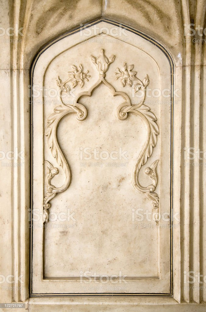 Carved Marble Frame from Taj Mahal royalty-free stock photo