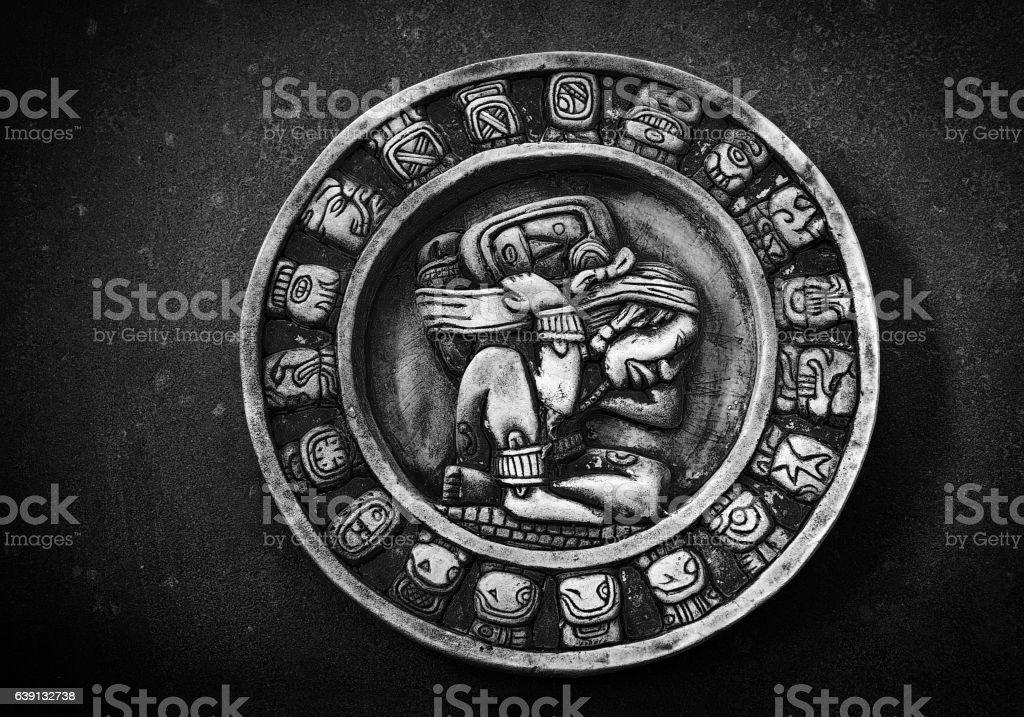 Carved Mayan calendar stock photo