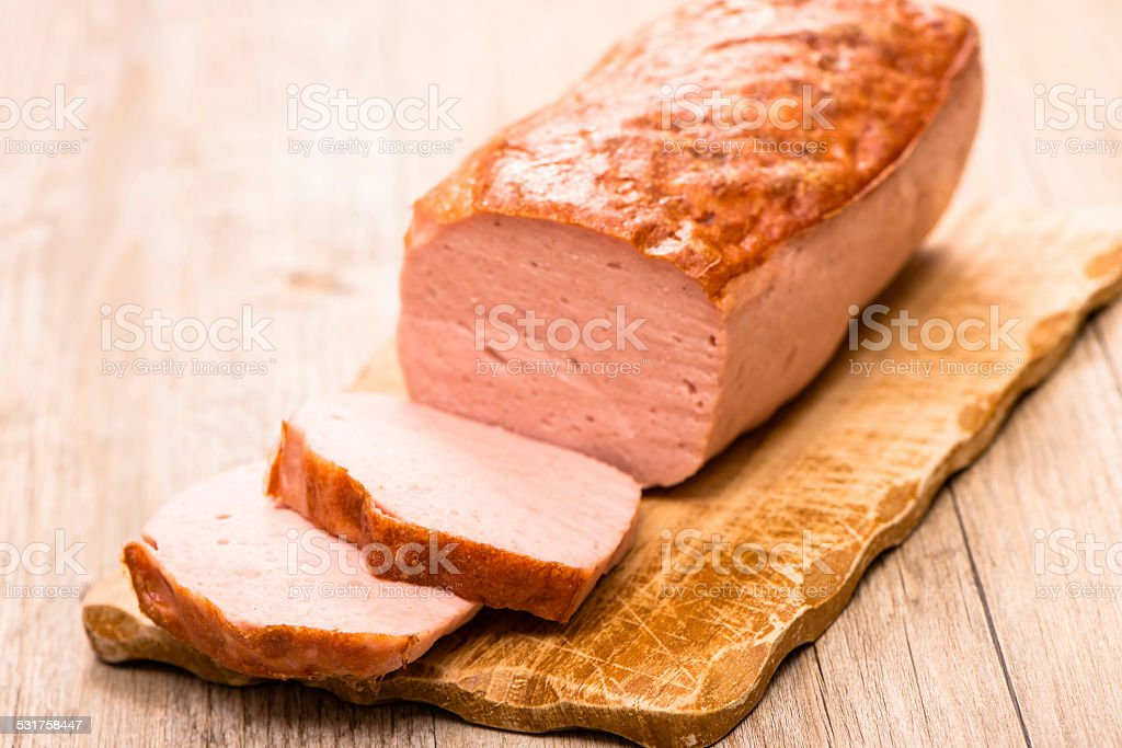 Carved meatloaf stock photo