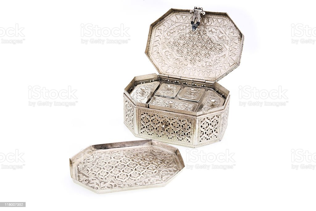 Carved Pure Silver Paan Daan stock photo
