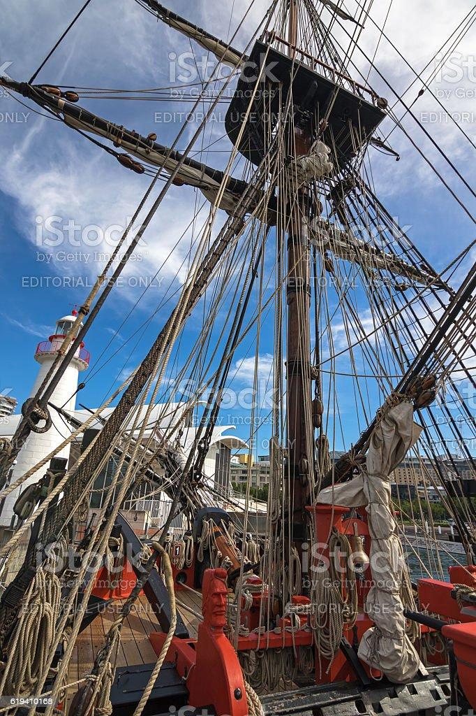 Carved sailor head, rigging ropes at Tall Ship HMB, Sydney stock photo