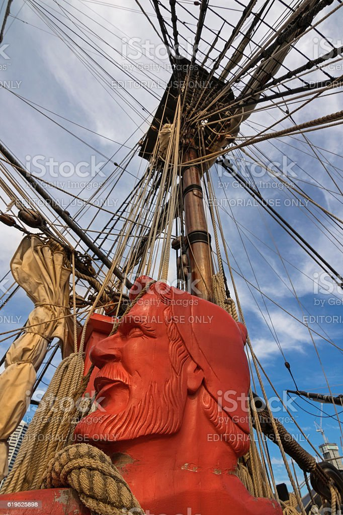 Carved sailor head, rigging ropes of Tall Ship HMB Endeavour stock photo