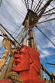 Carved sailor head, rigging ropes of Tall Ship HMB Endeavour