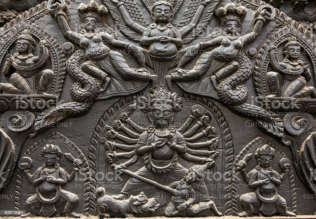 Carved statues on the Durbar Square in Kathmandu Nepal stock photo