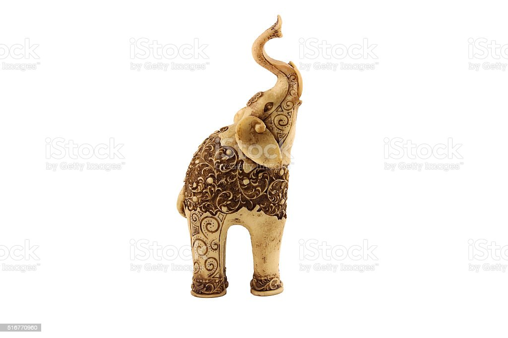 Carved statuette of indian elephant. stock photo