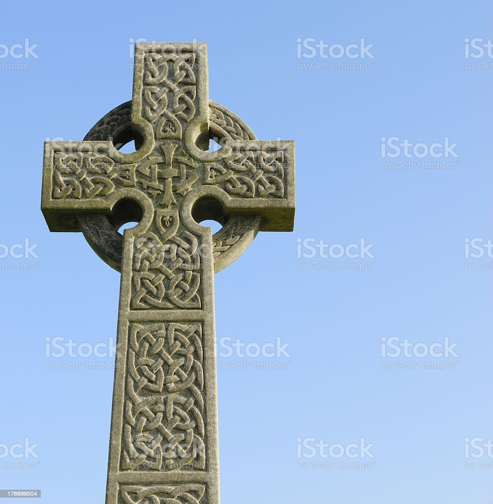 Carved stone celtic cross in a Scottish cemetry stock photo